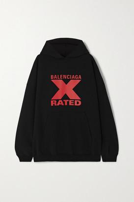 Balenciaga Oversized Printed Cotton-jersey Hoodie - Black