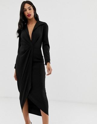 Asos Design DESIGN sexy drape bodycon shirt maxi dress-Black