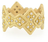 Armenta 18k Yellow Gold Stackable Ring with Diamond Cravelli Crosses