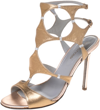 Sergio Rossi Metallic Gold Leather Ankle Strap Sandals Size 37