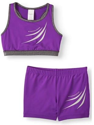 Danskin Purple Frenzy Bra Top and Bike Short Set, (Little Girls & Big Girls)