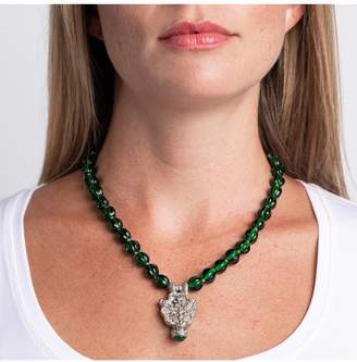 Kenneth Jay Lane Emerald Necklace With Silver Pendant