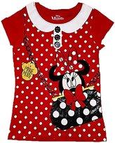 Disney Girls Minnie Mouse in Purse Polka Dot Fashion Top - Red (Medium)