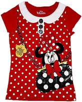 Disney Girls Minnie Mouse in Purse Polka Dot Fashion Top - Red (Small)