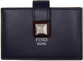 Fendi Navy & Tan Single Stud Multiple Card Holder