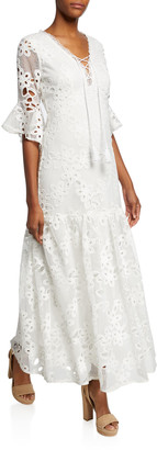 Badgley Mischka Lace-Up Floral-Lace Elbow-Sleeve Maxi Dress