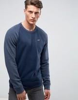 Hollister Icon Crew Neck Sweatshirt Tonal Raglan Sleeves Regular Fit In Navy Marl