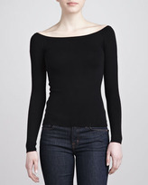Michael Kors Cashmere Off-the-Shoulder Top, Black