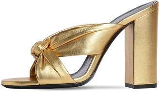 Saint Laurent 100mm Loulou Metallic Leather Sandals