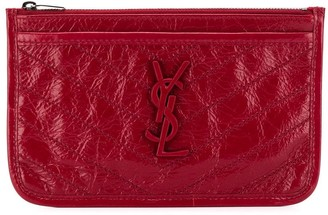 Saint Laurent zipped crinkled monogram pouch