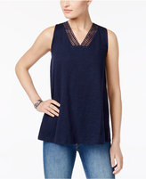 Style&Co. Style & Co Petite Cotton Crochet-Trim Tank Top, Only at Macy's