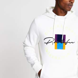 River Island Mens White Prolific crest embroidered slim hoodie