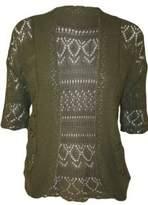 FashionMark Plus Size Women's Crochet Knitted Shrug Cardigan (Red)