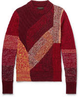 Burberry Patchwork Ribbed And Cable-knit Cashmere And Wool-blend Sweater - Multi