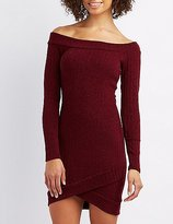 Charlotte Russe Ribbed Off-The-Shoulder Envelope Hem Dress