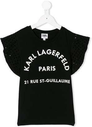 Karl Lagerfeld Paris ruffle sleeve T-shirt