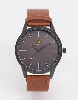 Farah classic leather watch in black