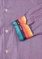Paul Smith Men's Tailored-Fit Purple Check Cotton 'Artist Stripe' Cuff Shirt
