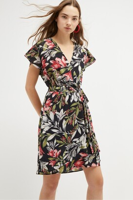 French Connection Floreta Shadow Floral Wrap Dress