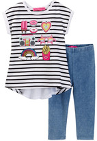 Betsey Johnson Striped Chiffon Bow Top & Knit Denim Legging Set (Little Girls)
