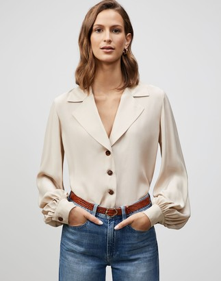 Lafayette 148 New York Matte Silk Therese Blouse