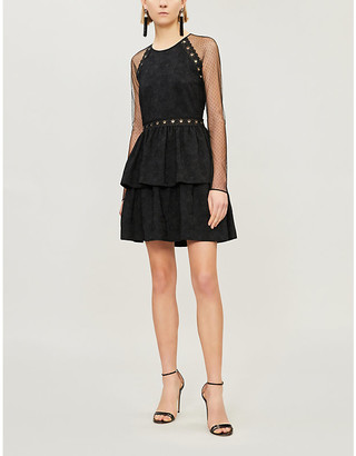 Pinko Coltello Floral-Embroidered Crepe And Tulle Dress