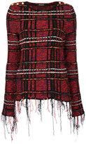 Balmain fringed tweed top - women - Cotton/Nylon/Polyamide/Viscose - 36