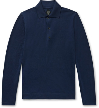 Denis Frison Slim-Fit Knitted Cashmere Polo Shirt