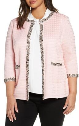 Ming Wang Tweed Trim Jacquard Jacket