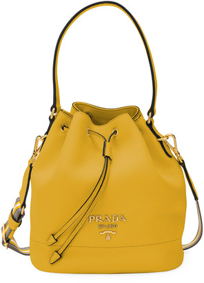 Prada Daino Bucket Bag w/ Removable Web & Leather Straps