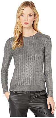 Lauren Ralph Lauren Cable-Knit Sweater (Gunmetal) Women's Clothing