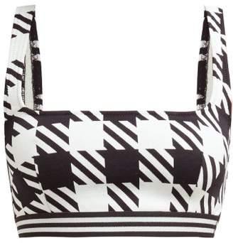 Solid & Striped The Kayla Gingham Patterned Bikini Top - Womens - Black White
