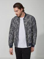 Frank + Oak Ash-Leaf-Print Cotton-Linen Bomber Jacket in Navy