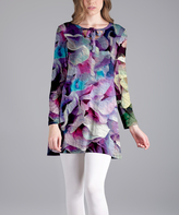 Lily Purple Abstract Long-Sleeve Tunic - Plus Too