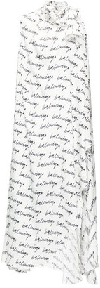 Balenciaga Logo-print Tie-neck Silk Dress - White Black