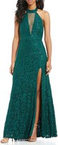 Sequin Hearts Choker Neck Sequin Lace Long Dress