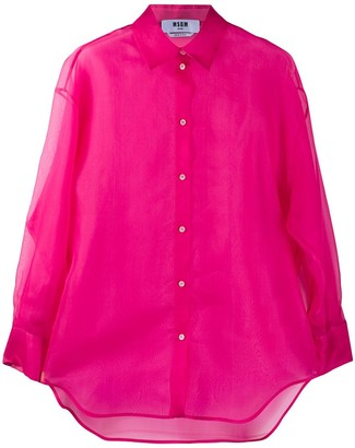MSGM Silk Long Sleeve Sheer Blouse
