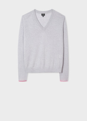 Paul Smith Women's Grey V-Neck Wool-Blend Sweater With Interior Cuff Trims