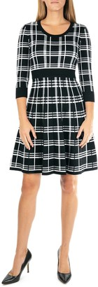 Nina Leonard Plaid Scoop Neck Jacquard Dress