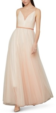 BCBGMAXAZRIA Beaded-Waist Tulle Gown