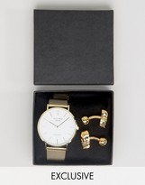 Reclaimed Vintage Gold Mesh Watch & Skull Cufflinks Gift Set
