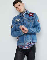 Pretty Green x The Beatles Lonely Hearts Club Denim Jacket In Mid Wash