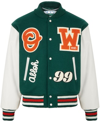 Off-White Green wool-blend and leather bomber jacket