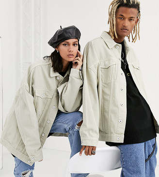 Collusion Unisex extreme oversized denim jacket in ecru