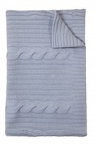 The Well Appointed House 100% Cashmere Heavy Knit Cable Throw in Light Blue