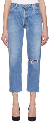 RE/DONE Indigo Levis Edition The High-Rise Stove Pipe Jeans
