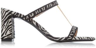 BY FAR Chloe Zebra-Print Pony Hair Leather Sandals