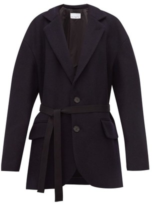Raey Oversized Single-breasted Wool Harris-tweed Blazer - Womens - Navy