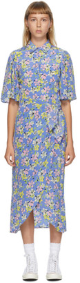 Les Rêveries Blue Silk Floral Wrap Shirt Dress