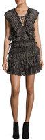 IRO Camrose Tiered Lace-Front Mini Dress, Black/Pink